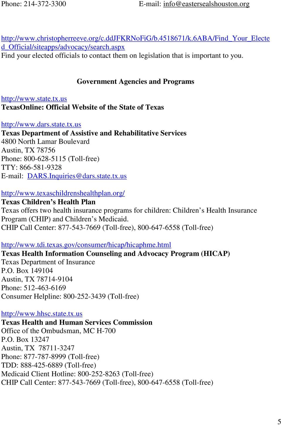 Texas Disability Resources Pdf
