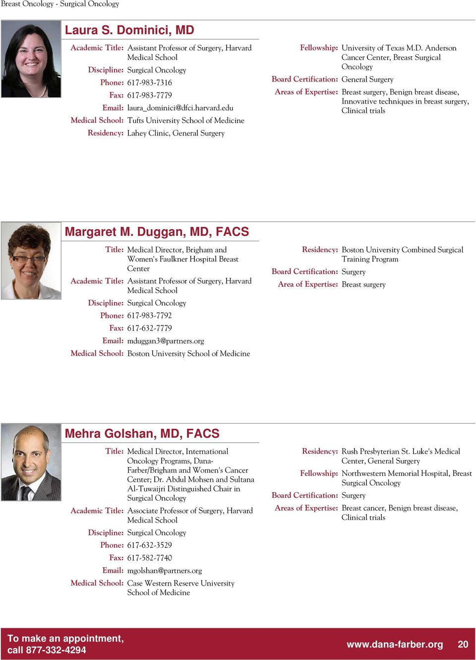 PHYSICIAN PROFILES  Dedicated to Discovery Committed to Care  - PDF