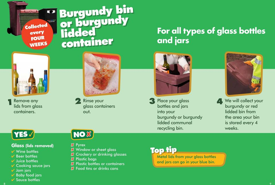 4 We will collect your burgundy or red lidded bin from the area your bin is stored every 4 weeks.