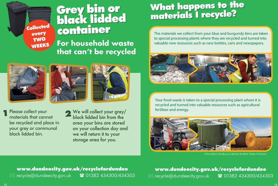 newspapers. 1 Please collect your materials that cannot be recycled and place in your grey or communal black lidded bin.