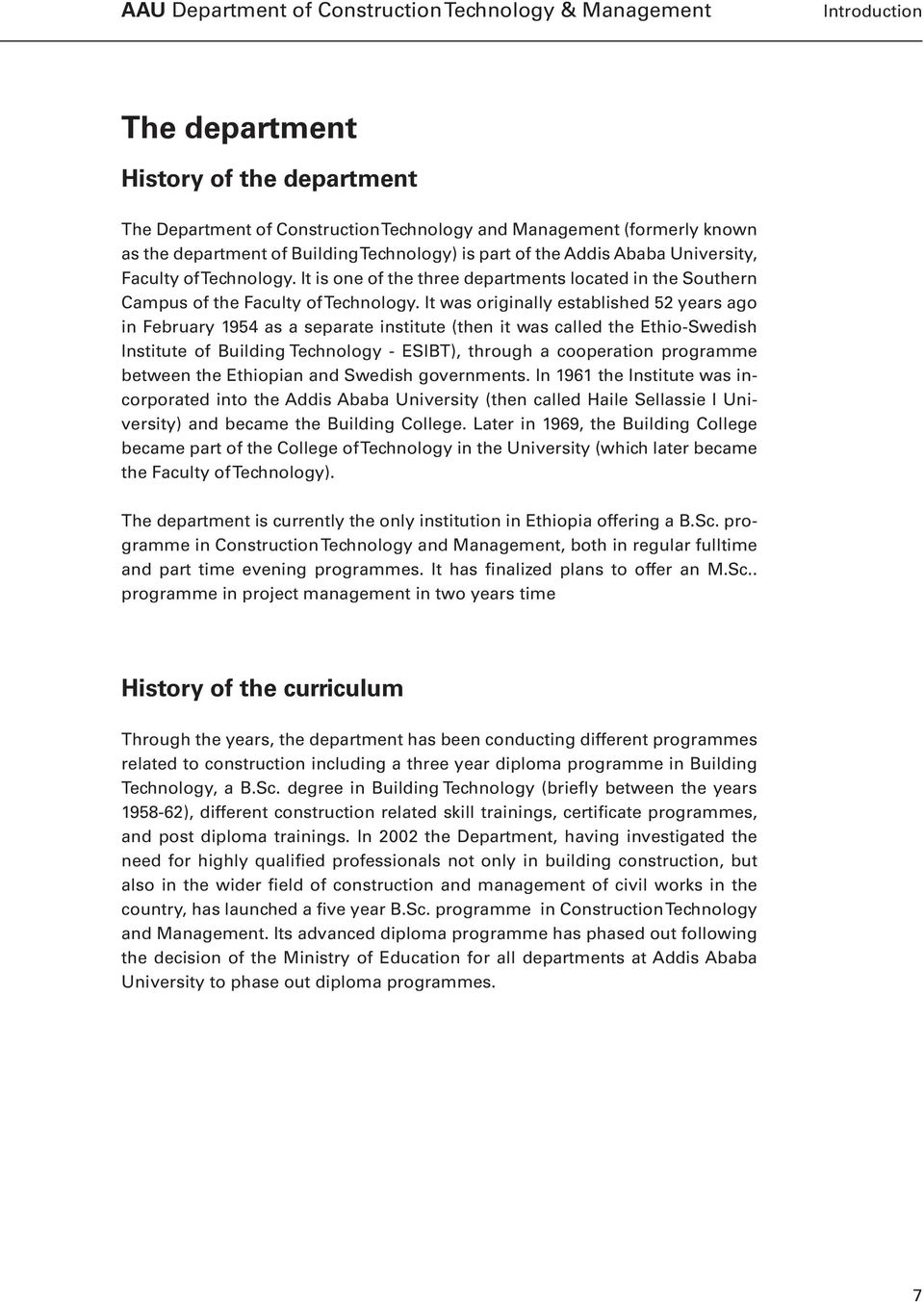 AAU Faculty of Technology Curriculum reform  Book III Department of