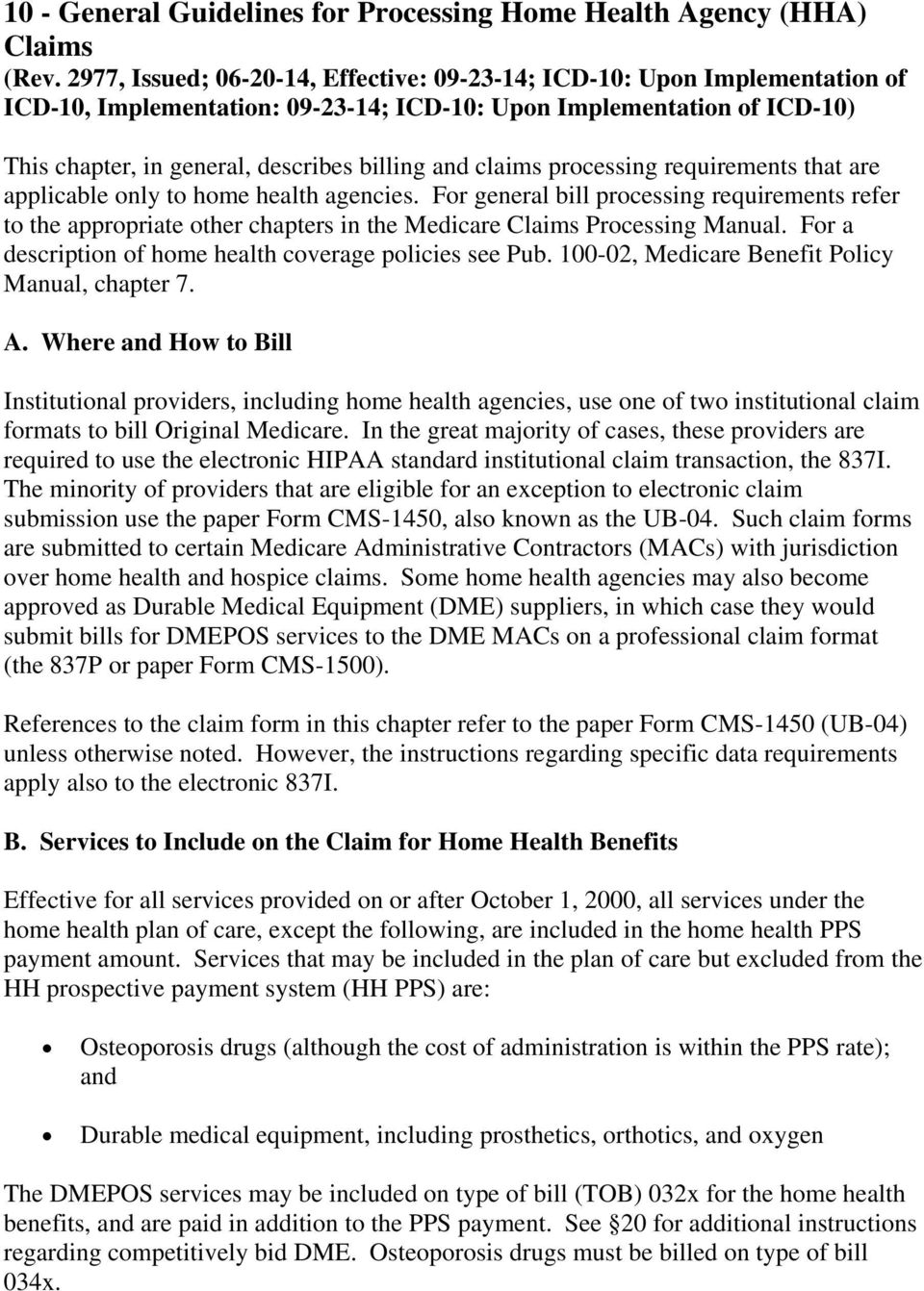 Awesome Medicare Claims Processing Manual Chapter 10 Home Health Download Free Architecture Designs Itiscsunscenecom