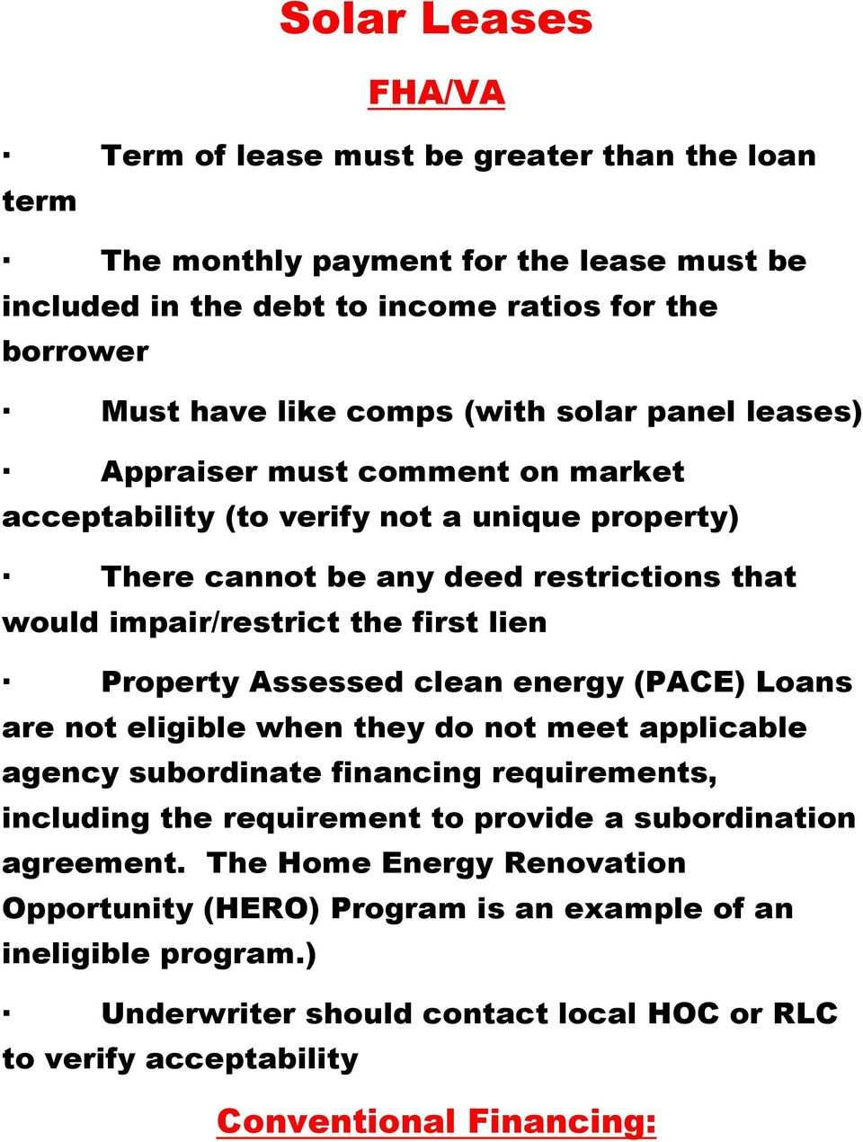Solar Leases Fhava Term Of Lease Must Be Greater Than The Loan