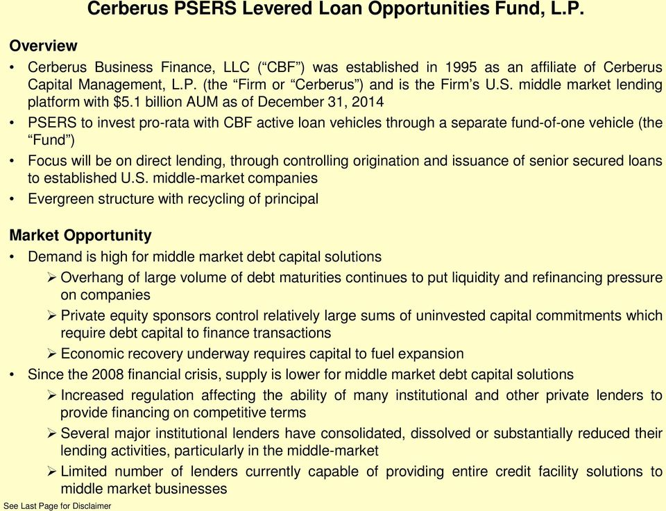 Cerberus PSERS Levered Loan Opportunities Fund, L P  - PDF