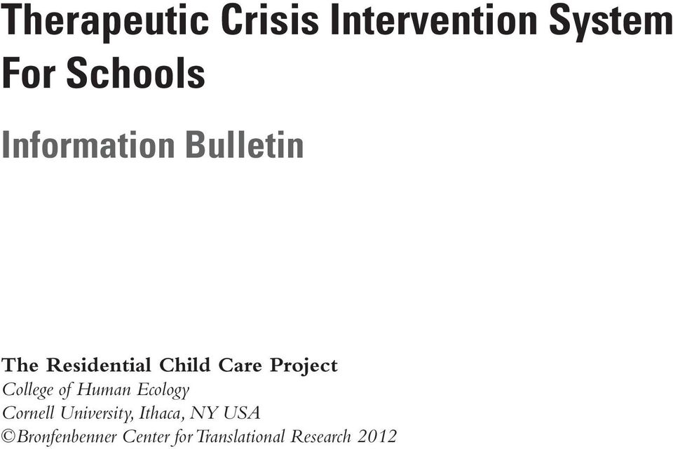The Therapeutic Crisis Intervention System For Schools PDF