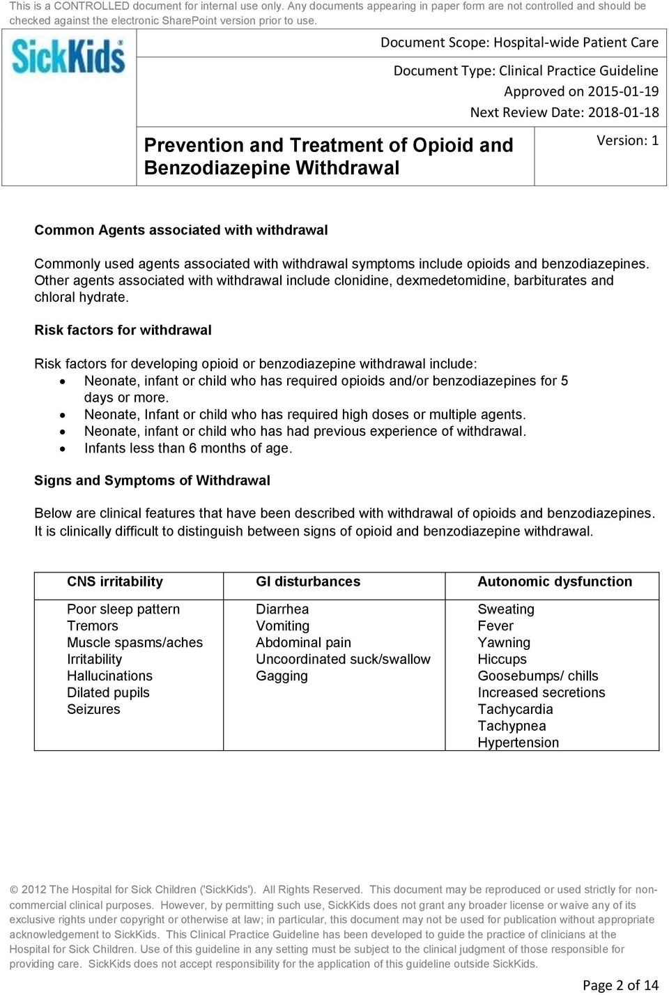 Prevention and Treatment of Opioid and Benzodiazepine