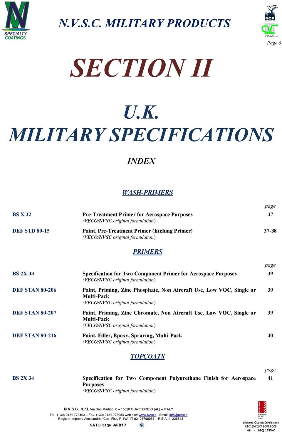 N V S C  MILITARY PRODUCTS NVSC MILITARY COATINGS THIS DOCUMENT