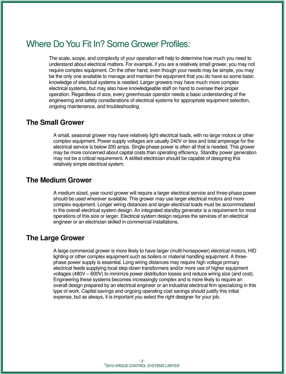 Greenhouse Electrical Design Considerations Application Note - PDF