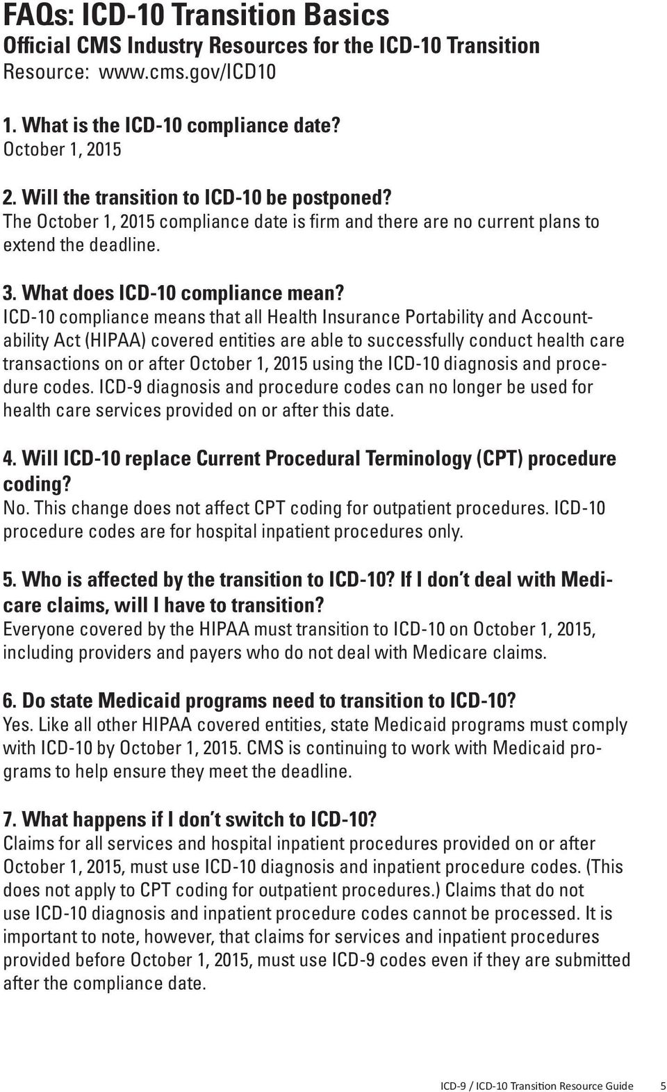 ICD-10 compliance means that all Health Insurance Portability and  Accountability Act (HIPAA)
