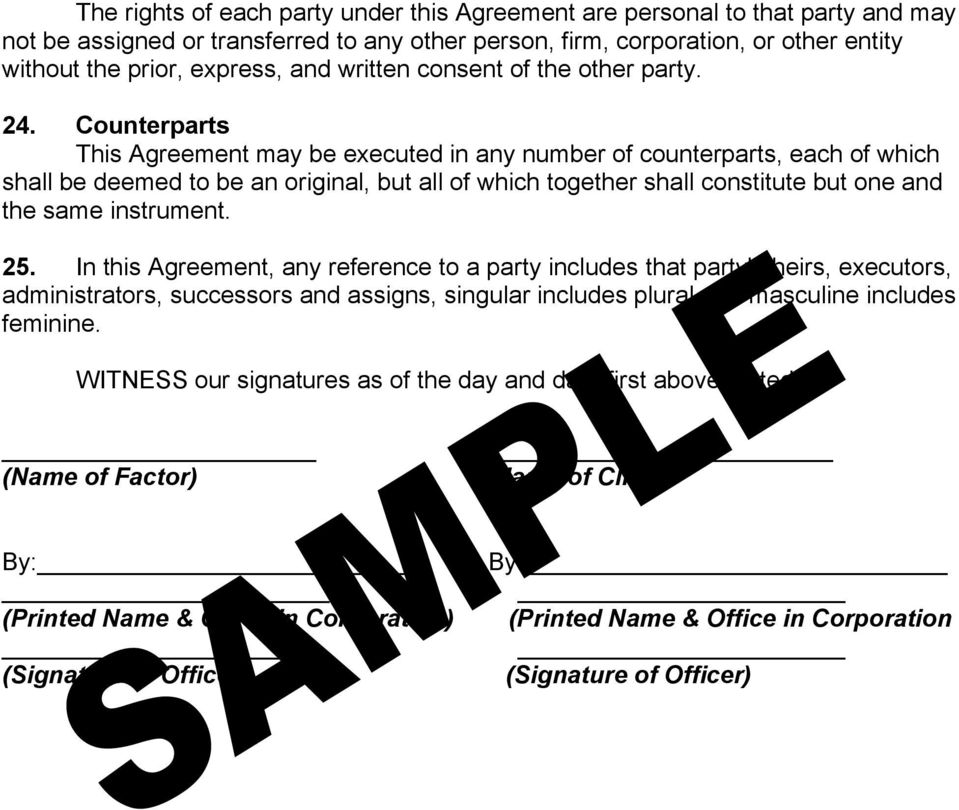 General Form Of Factoring Agreement Regarding The Assignment Of