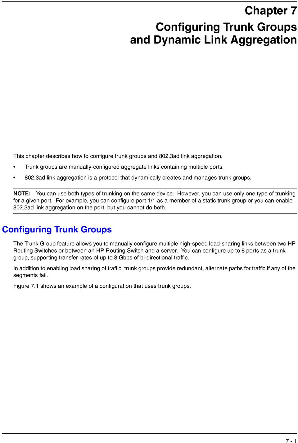 Chapter 7 Configuring Trunk Groups and Dynamic Link