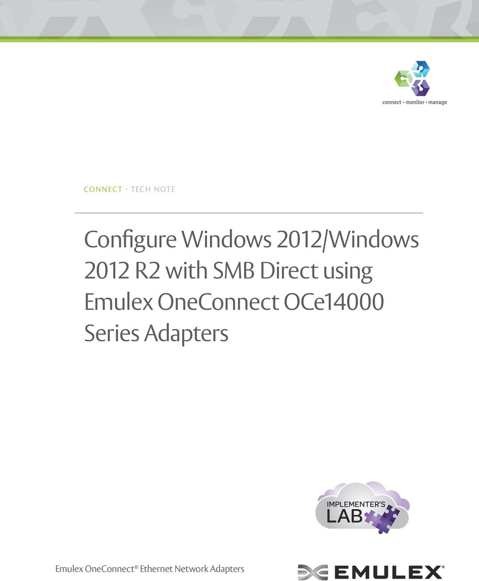 Configure Windows 2012/Windows 2012 R2 with SMB Direct using Emulex