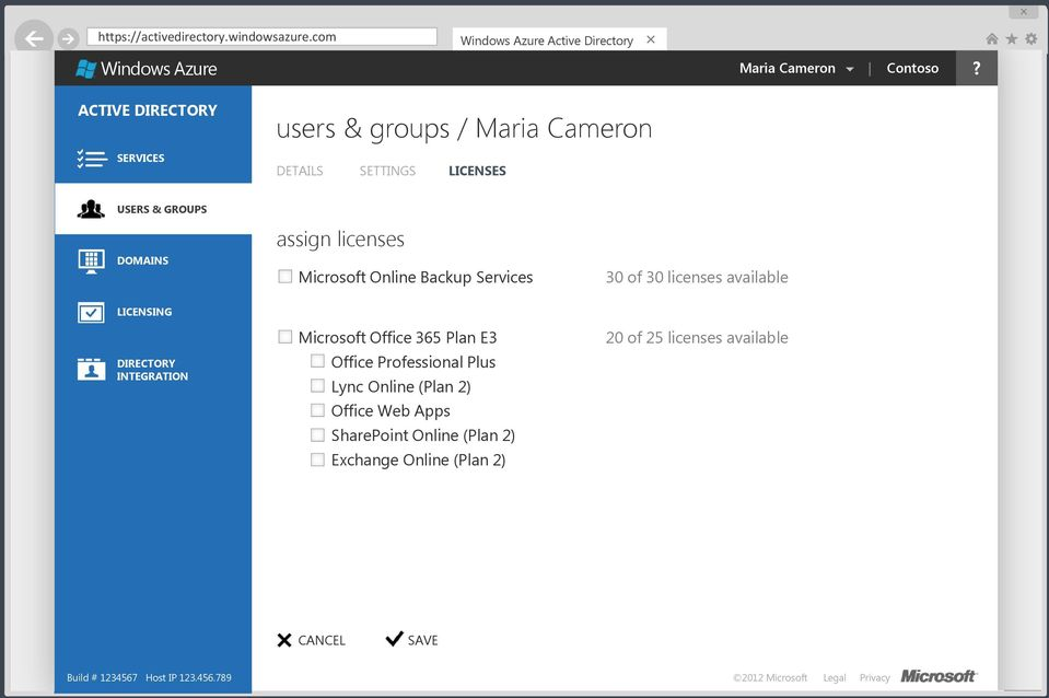 Sign in to Windows Azure AD manage your identity data in