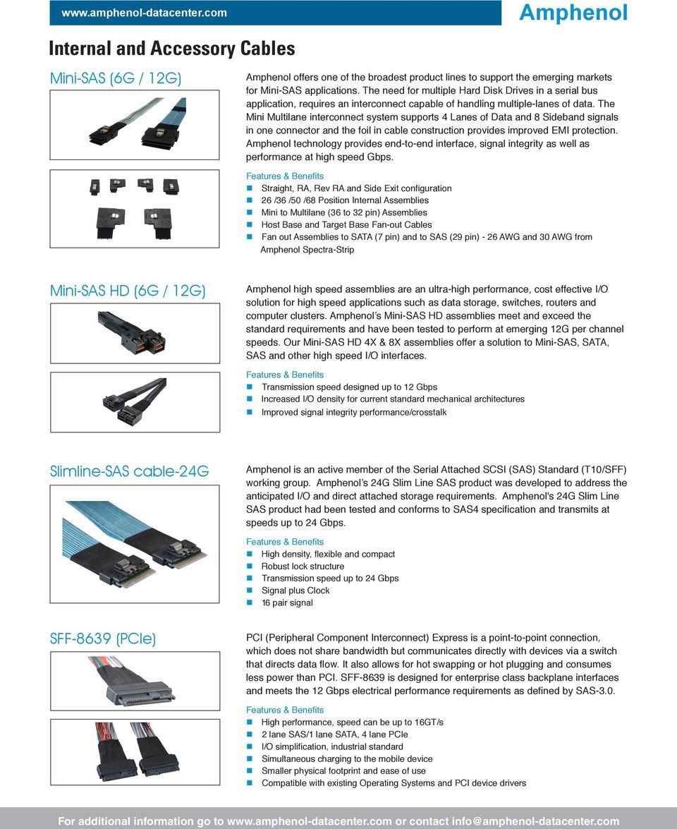 Amphenol Data Center Pdf Interconnect Solution For 25 Gbps The Mini Multilane System Supports 4 Lanes Of And 8 Sideband Signals In One