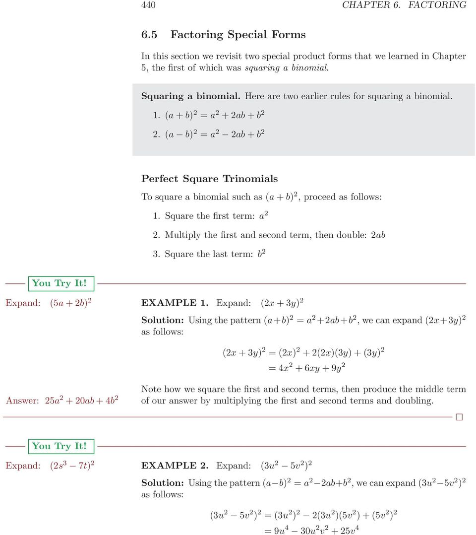 6 5 Factoring Special Forms Pdf
