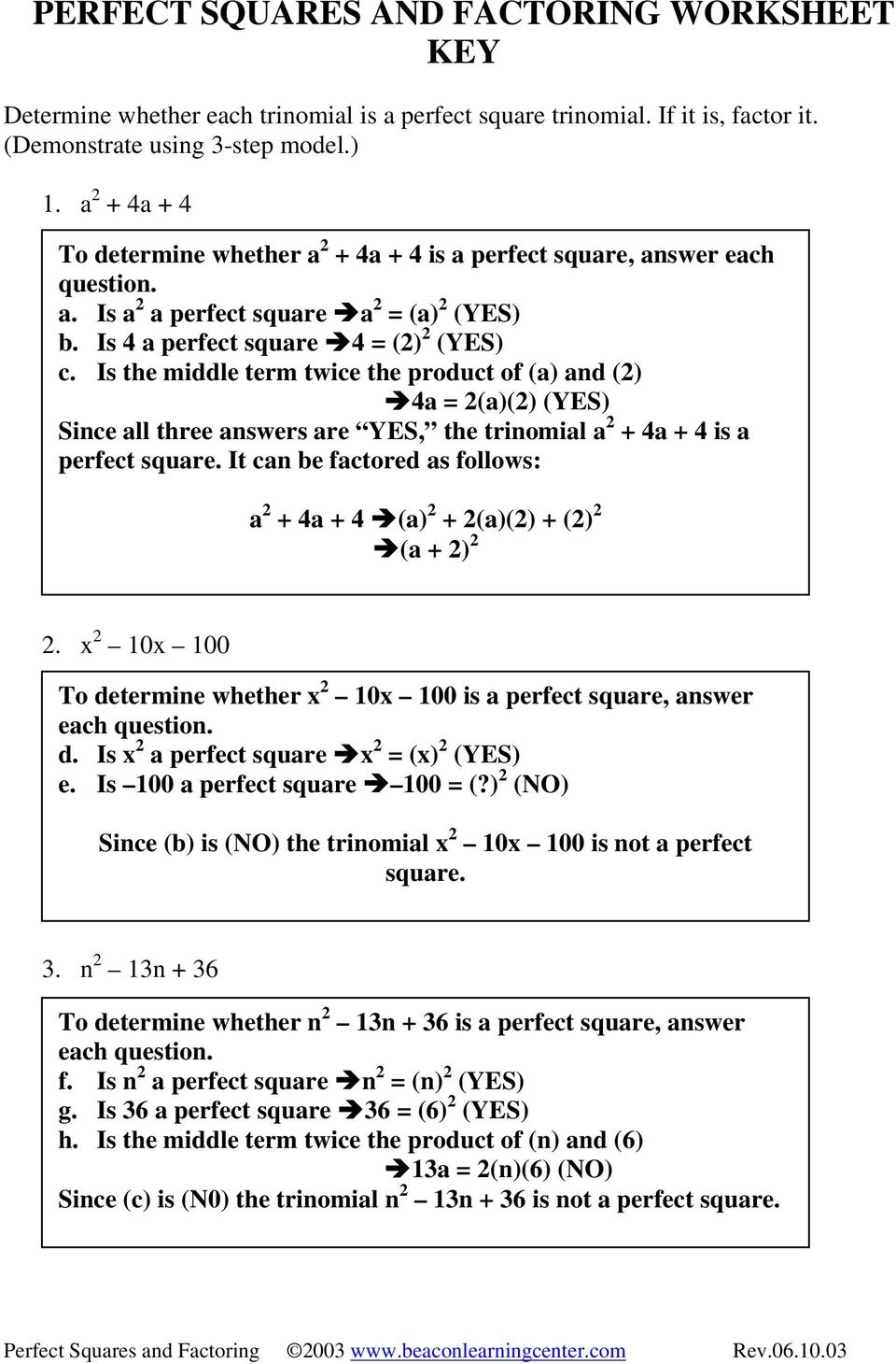 Perfect Squares And Factoring Examples Pdf