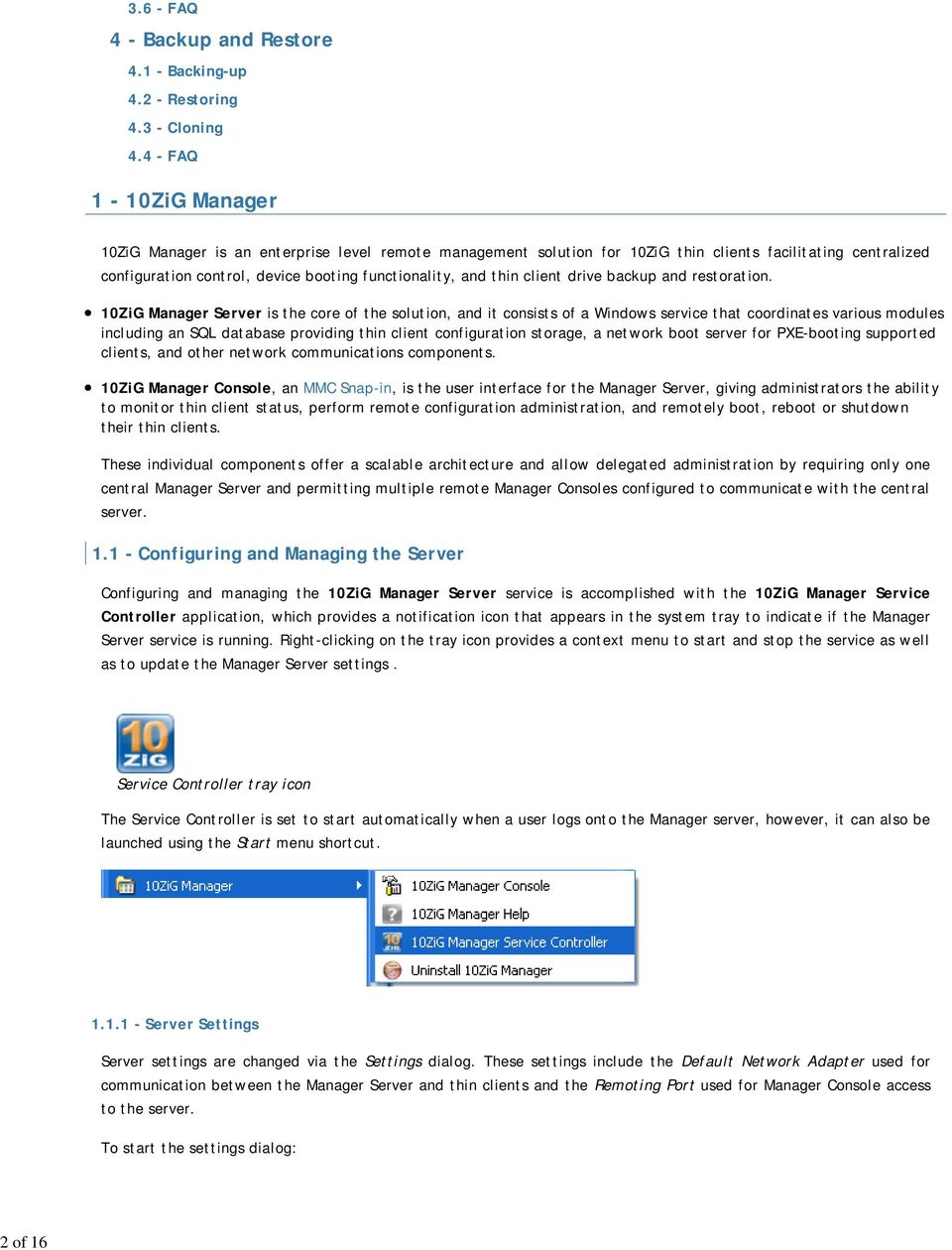 Thin Client Manager  Table of Contents  1-10ZiG Manager  2
