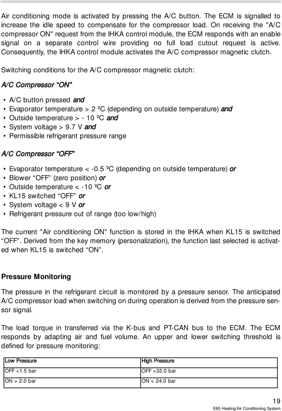 E85 Heating / Air Conditioning System - PDF