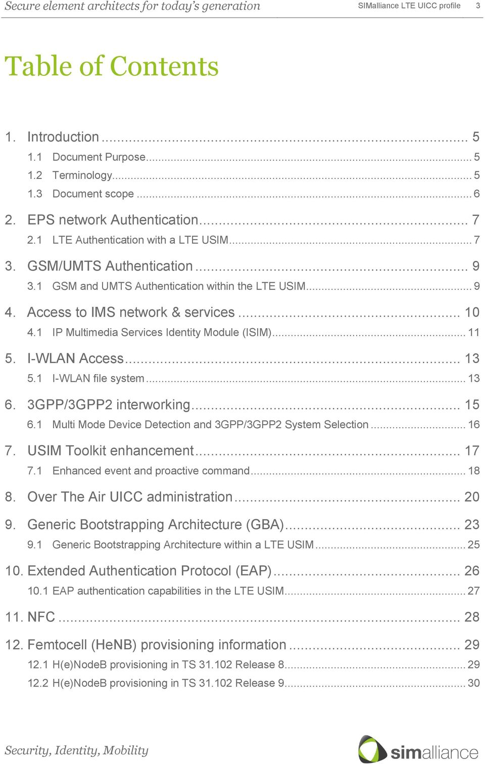 SIMalliance LTE UICC profile  This document is a collection