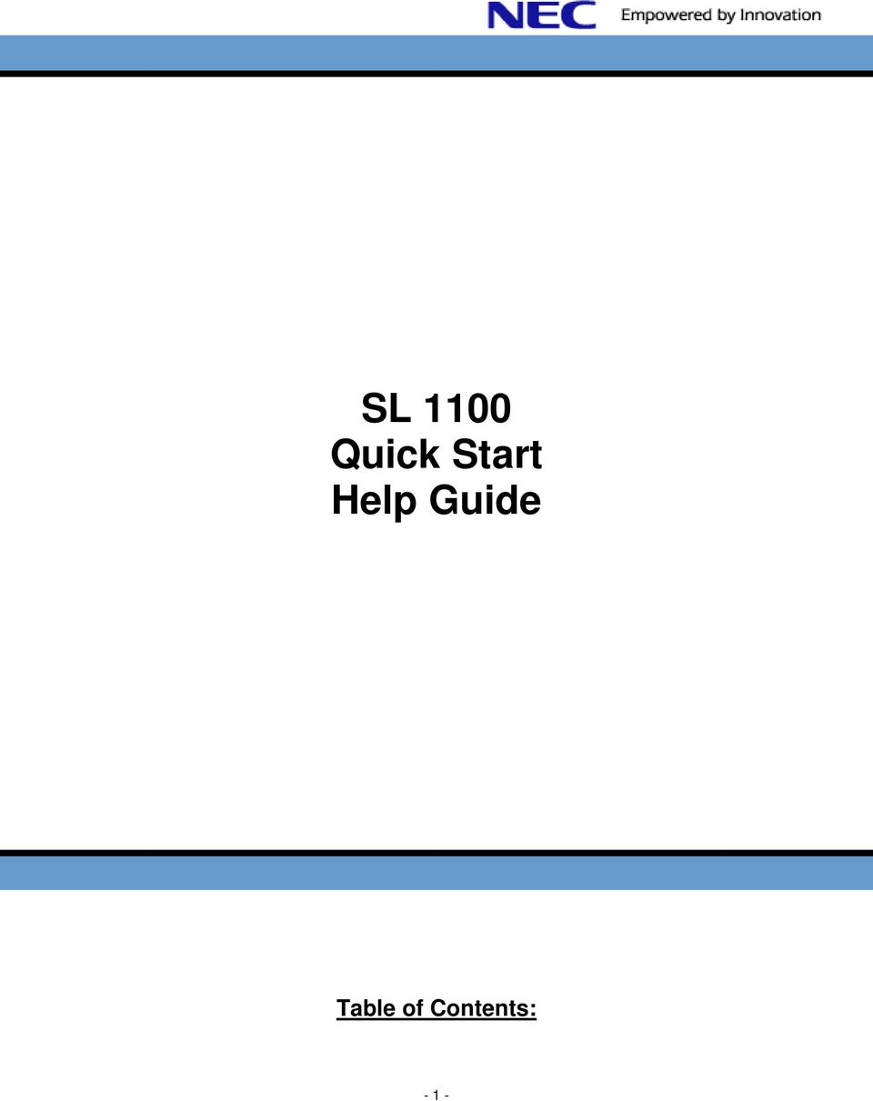 SL 1100 Quick Start Help Guide Table of Contents: - PDF Nec Sl Wiring Diagram on