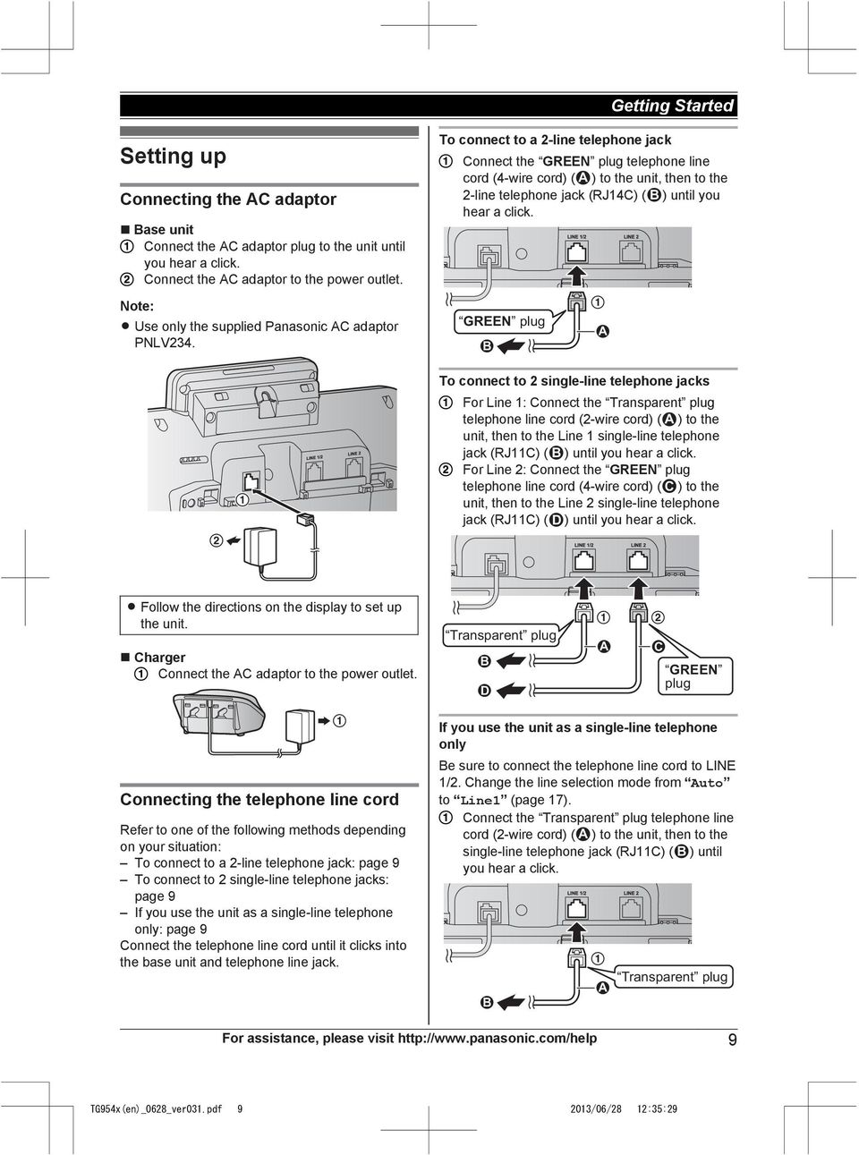 Before Initial Use See Getting Started On Page 9 Pdf How To Hook Up Phone Jack Connect A 2 Line Telephone The Green Plug Cord