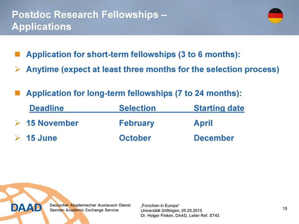 DAAD Funding Opportunities for Postdocs - PDF