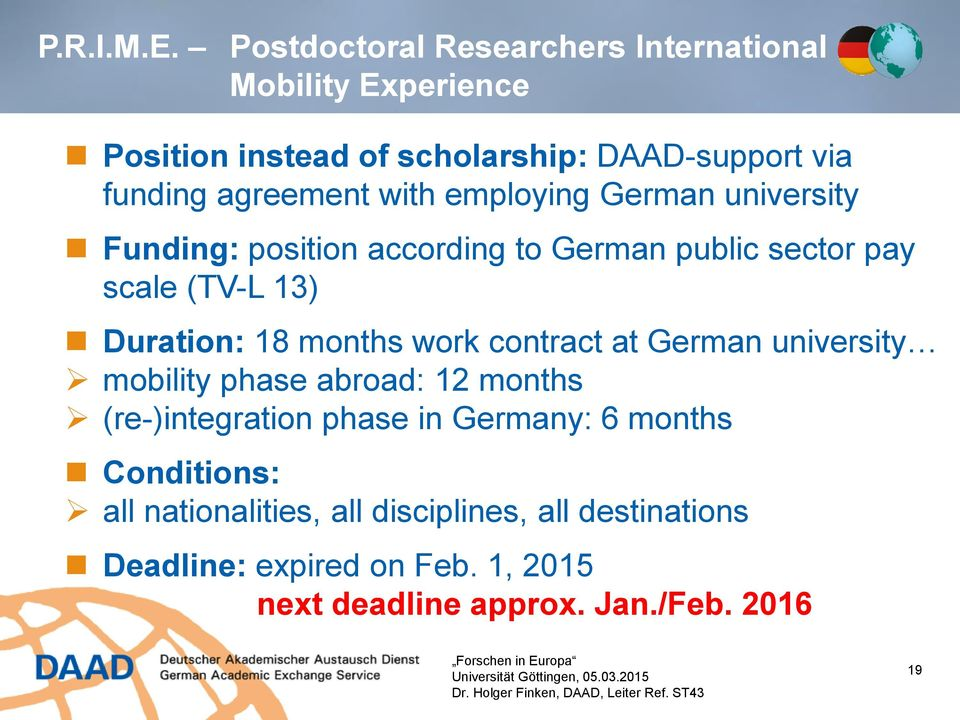 German Postdoc Grant
