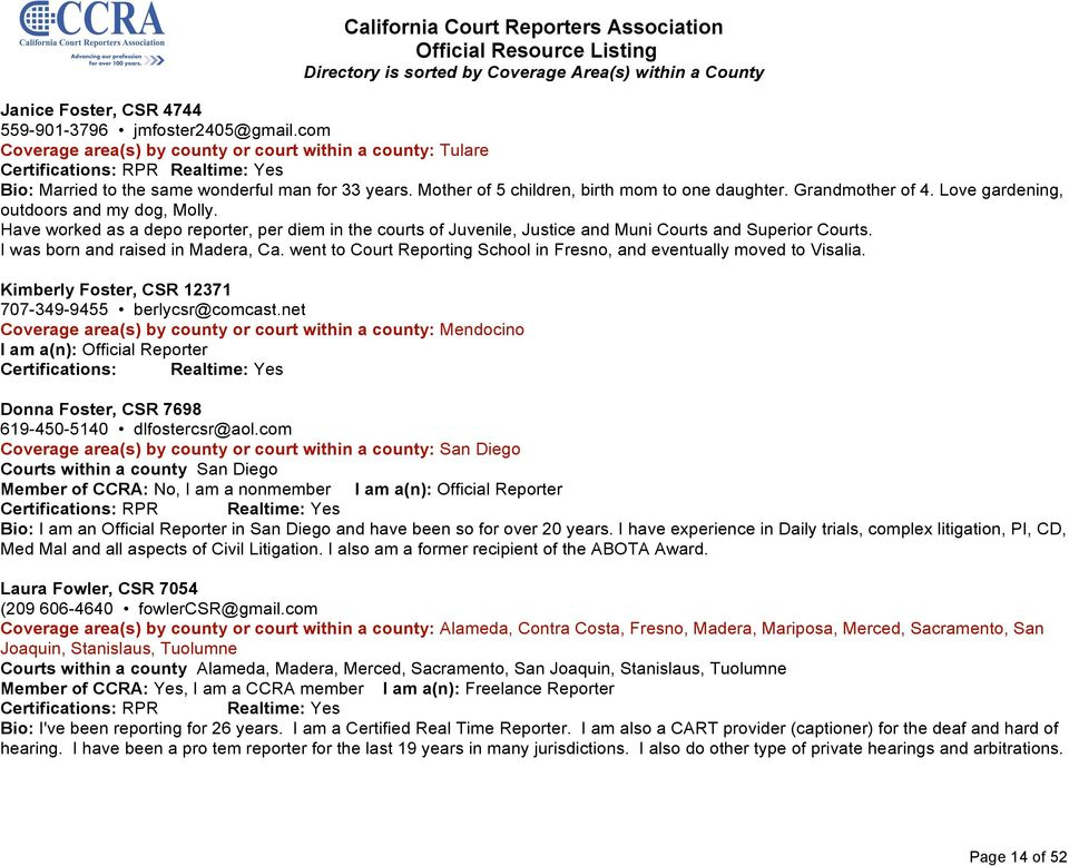 California Court Reporters Association Official Resource Listing