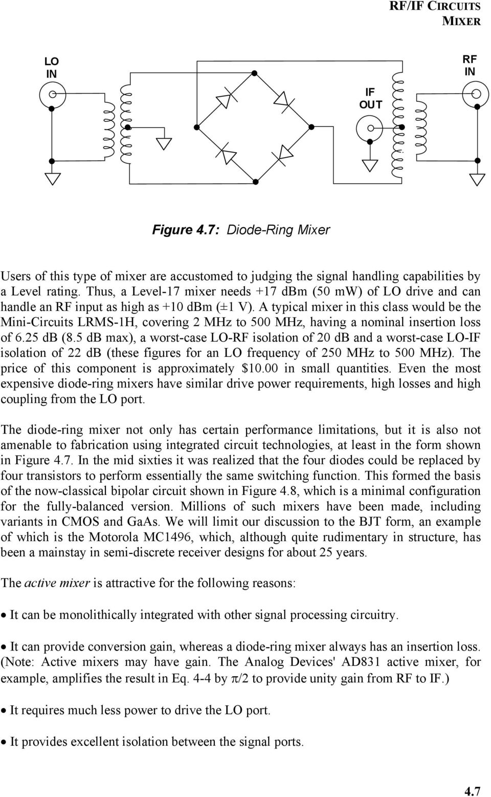 Chapter 4 Rf If Circuits Pdf 500mhz Pic Prescaler A Typical Mixer In This Class Would Be The Mini Lrms 1h