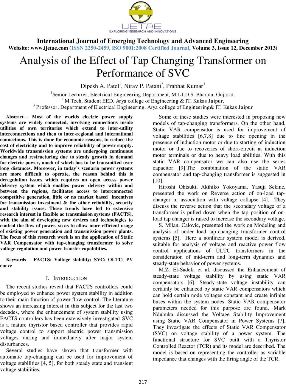 Analysis Of The Effect Tap Changing Transformer On Performance Pcbased Electric Power System Softwarepackage For 3 Professor Department Electrical Engineering Arya College It Kukas Jaipur