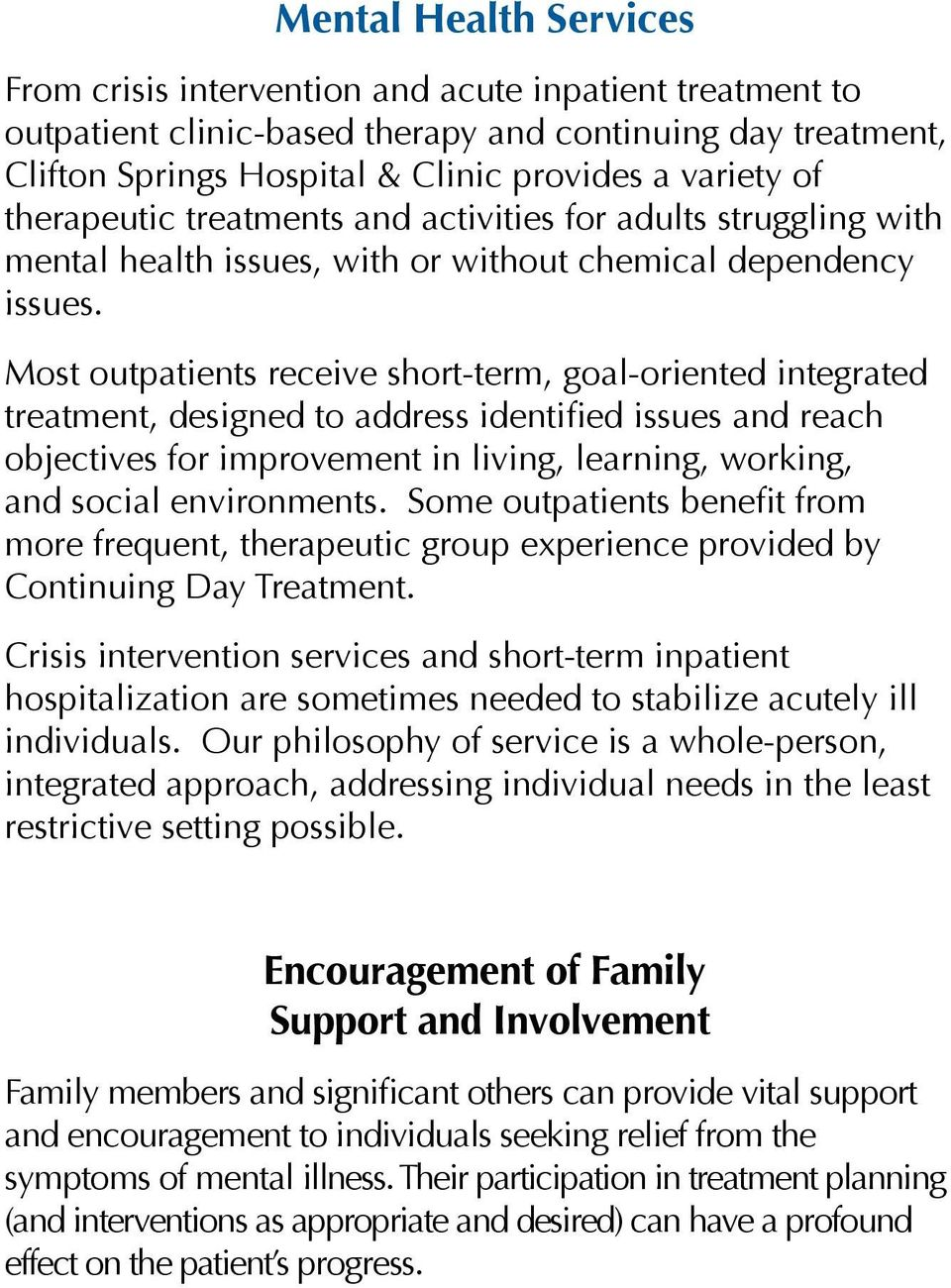 Clifton Springs Hospital Clinic Behavioral Health Inpatient