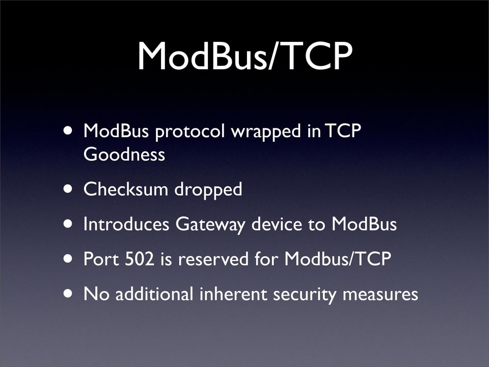 device to ModBus Port 502 is reserved for