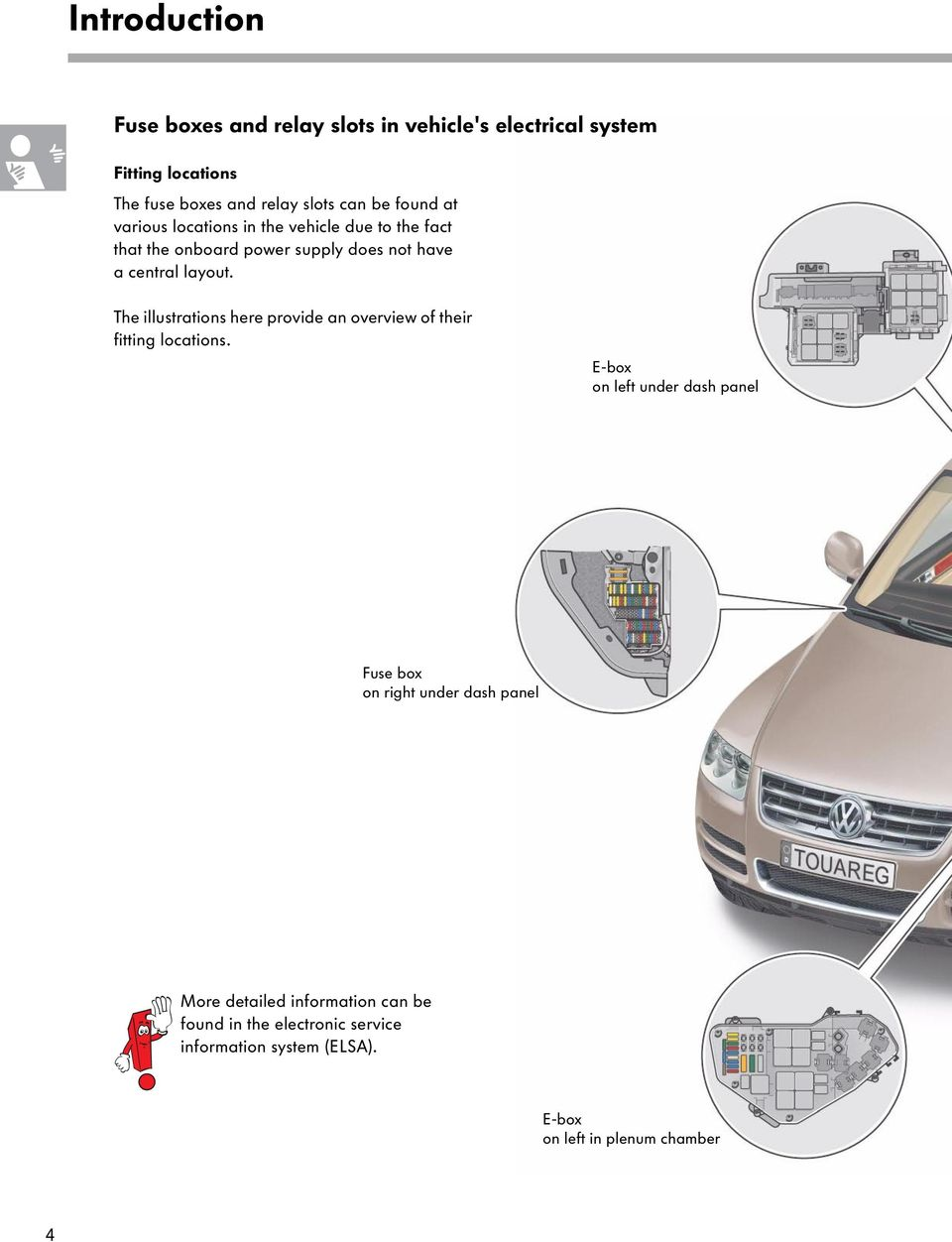The Touareg Electrical System Pdf D5 Fuse Box Location Illustrations Here Provide An Overview Of Their Fitting Locations
