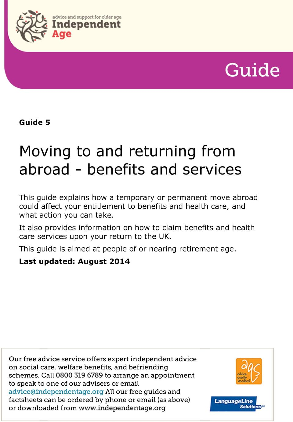 This guide is aimed at people of or nearing retirement age.