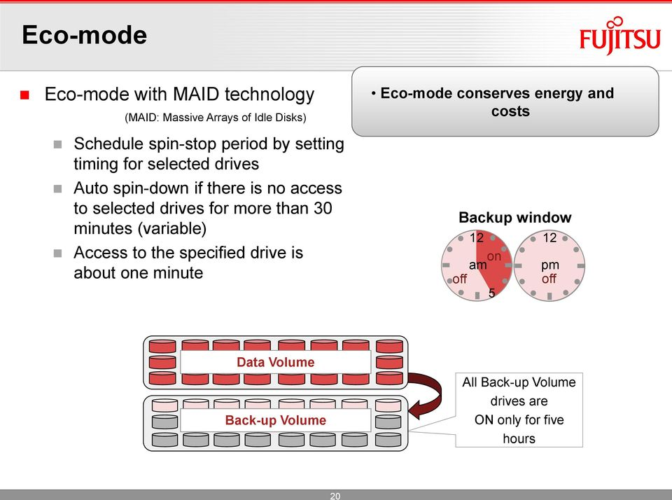 minutes (variable) Access to the specified drive is about one minute Eco-mode conserves energy and costs
