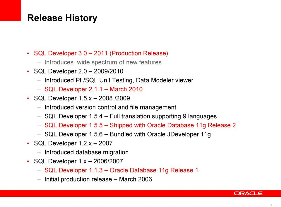 x 2008 /2009 Introduced version control and file management SQL Developer 1.5.4 Full translation supporting 9 languages SQL Developer 1.5.5 Shipped with Oracle Database 11g Release 2 SQL Developer 1.
