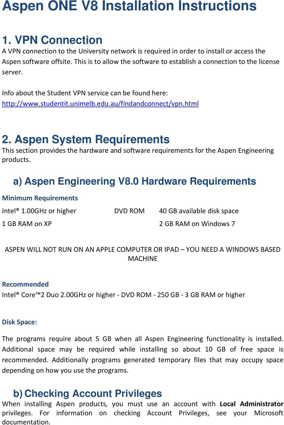 Aspen ONE V8 Installation Instructions - PDF