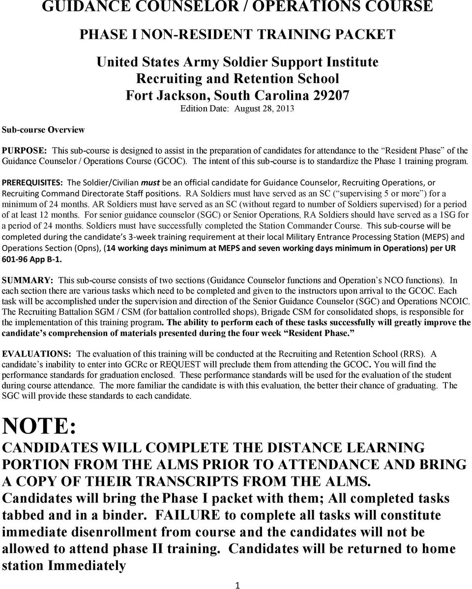 GUIDANCE COUNSELOR / OPERATIONS COURSE - PDF