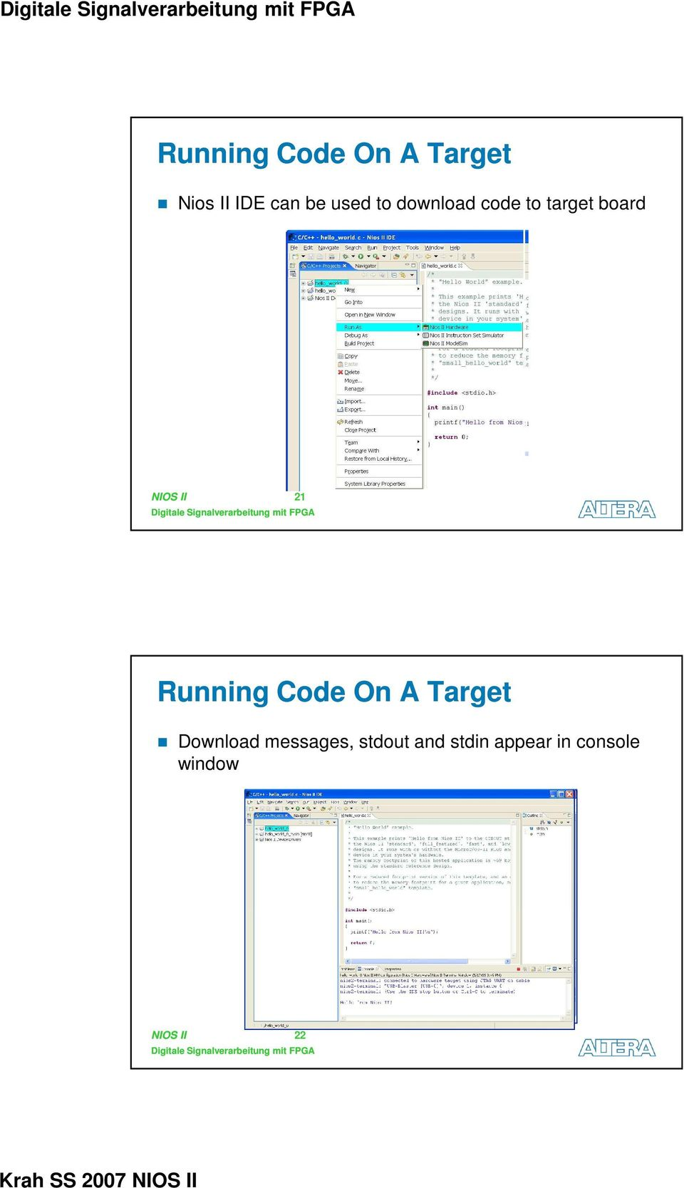 21 Running Code On A Target Download messages,