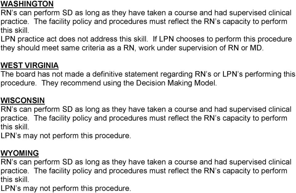 WEST VIRGINIA The board has not made a definitive statement regarding RN s or LPN s