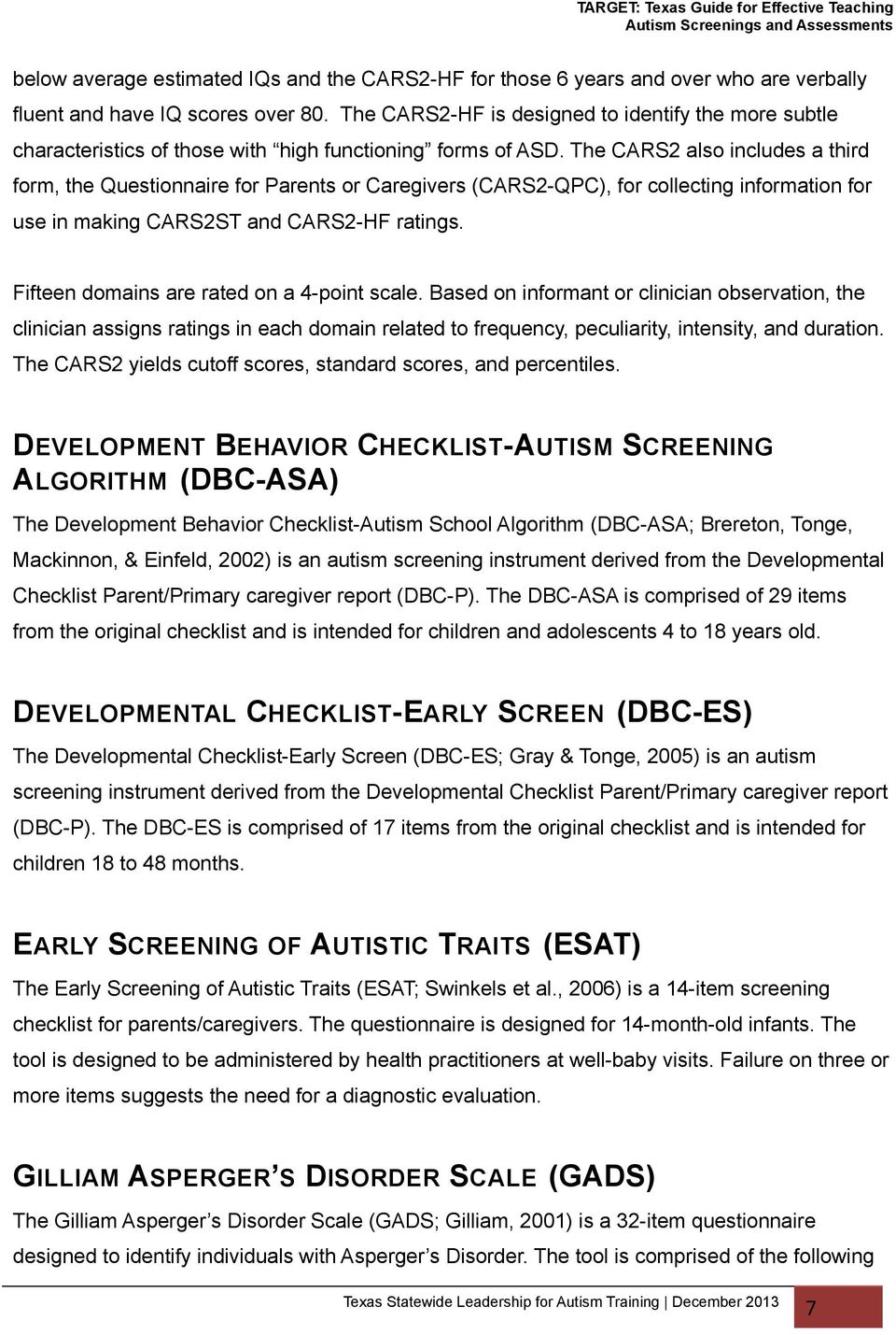 AUTISM SCREENINGS AND ASSESSMENTS - PDF