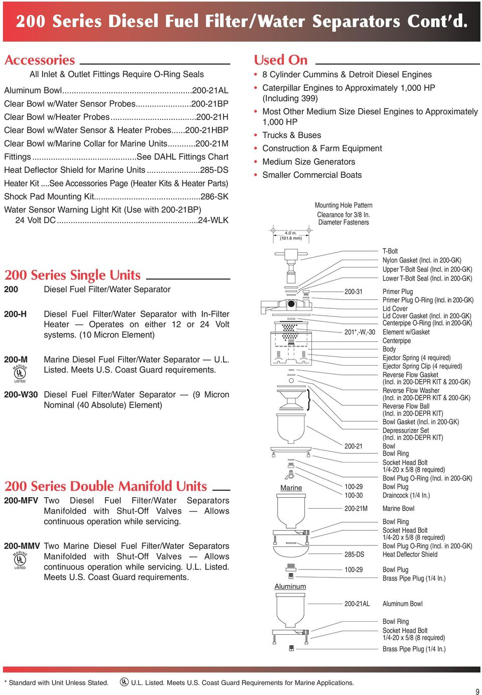 Diesel Fuel Filter Water Separators Recycler Systems Pdf Truck Micron See Dahl Fittings Chart Heat Deflector Shield For Marine Units285