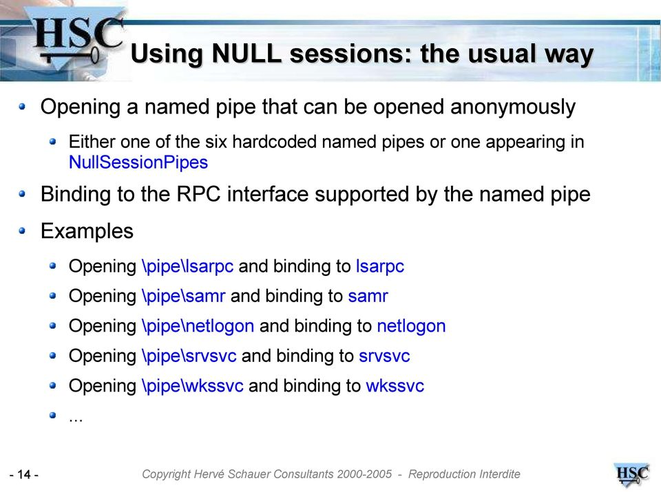 MSRPC NULL sessions  Exploitation and protection  Jean