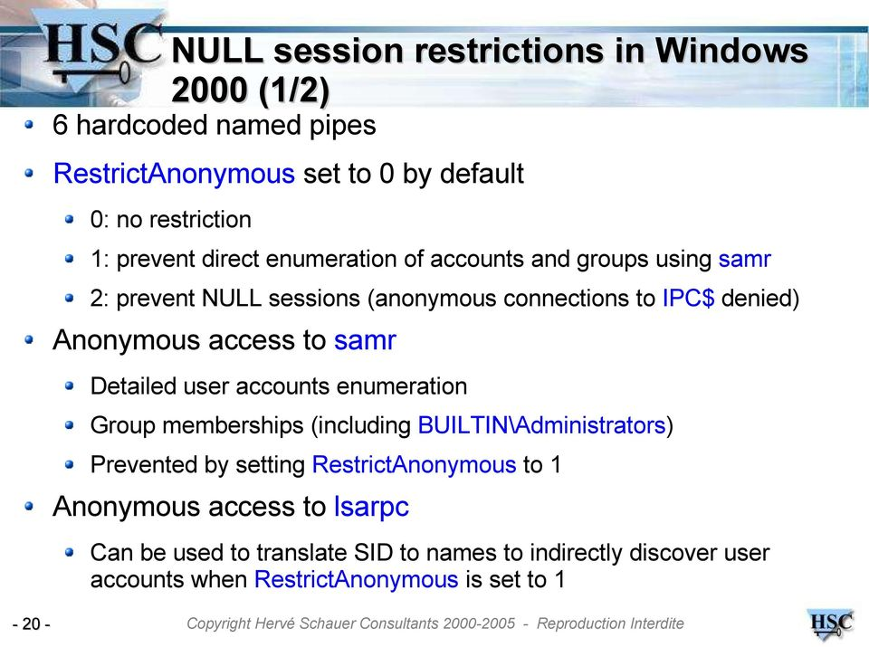 MSRPC NULL sessions  Exploitation and protection  Jean-Baptiste