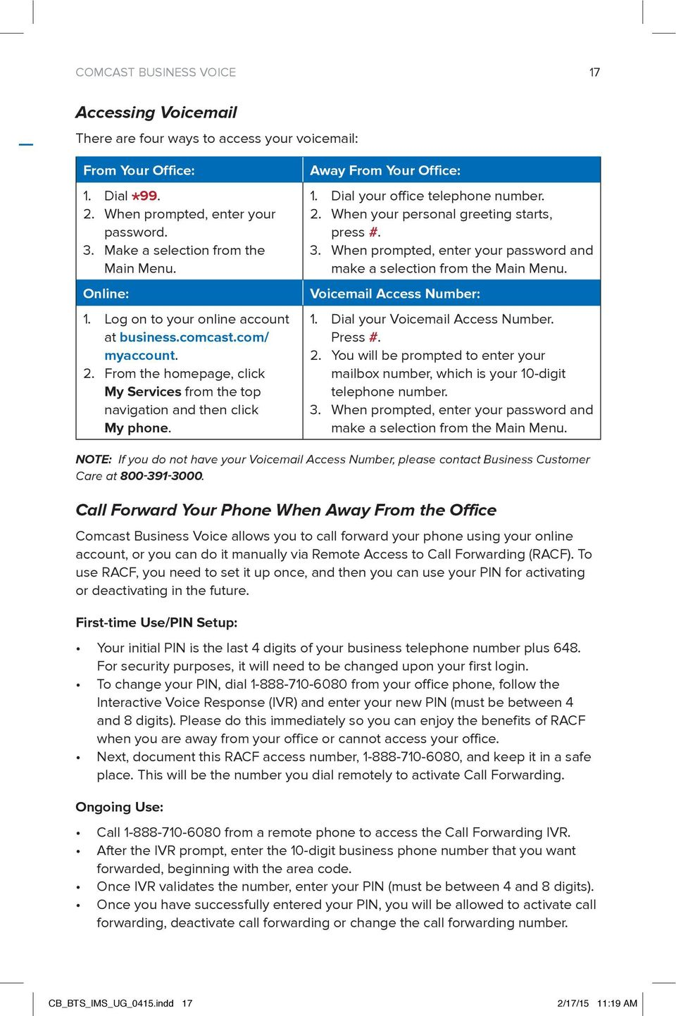 WELCOME TO COMCAST BUSINESS - PDF