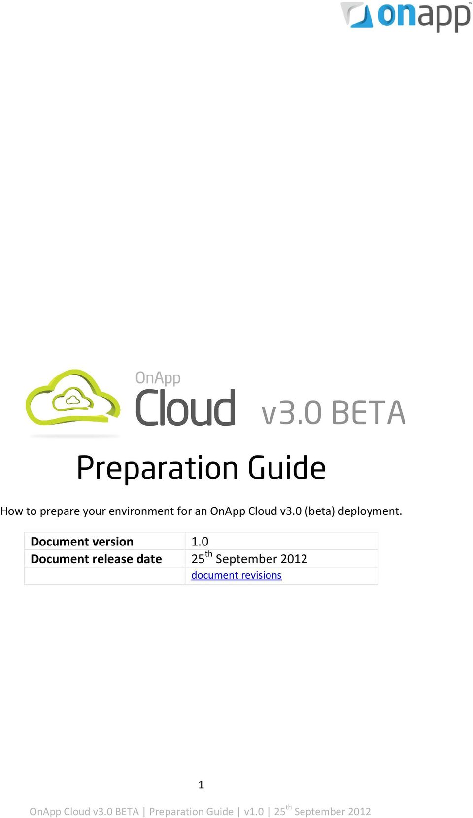 OnApp Cloud v3.0 (beta) deployment.