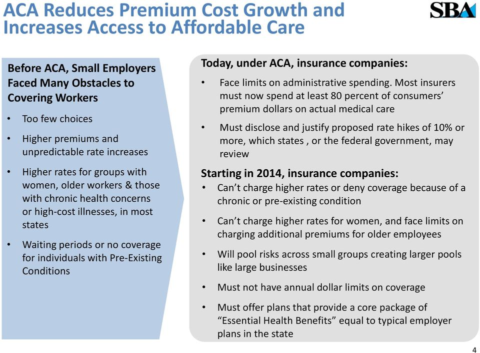 Pre-Existing Conditions Today, under ACA, insurance companies: Face limits on administrative spending.