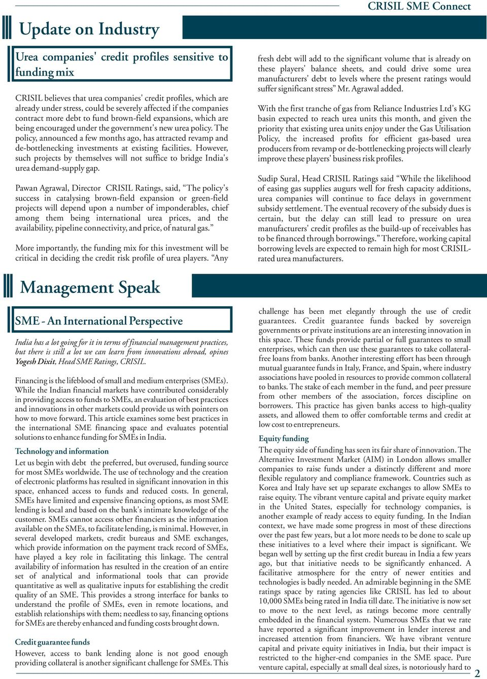 Volume: 6  CRISIL SME Connect  A newsletter from CRISIL SME