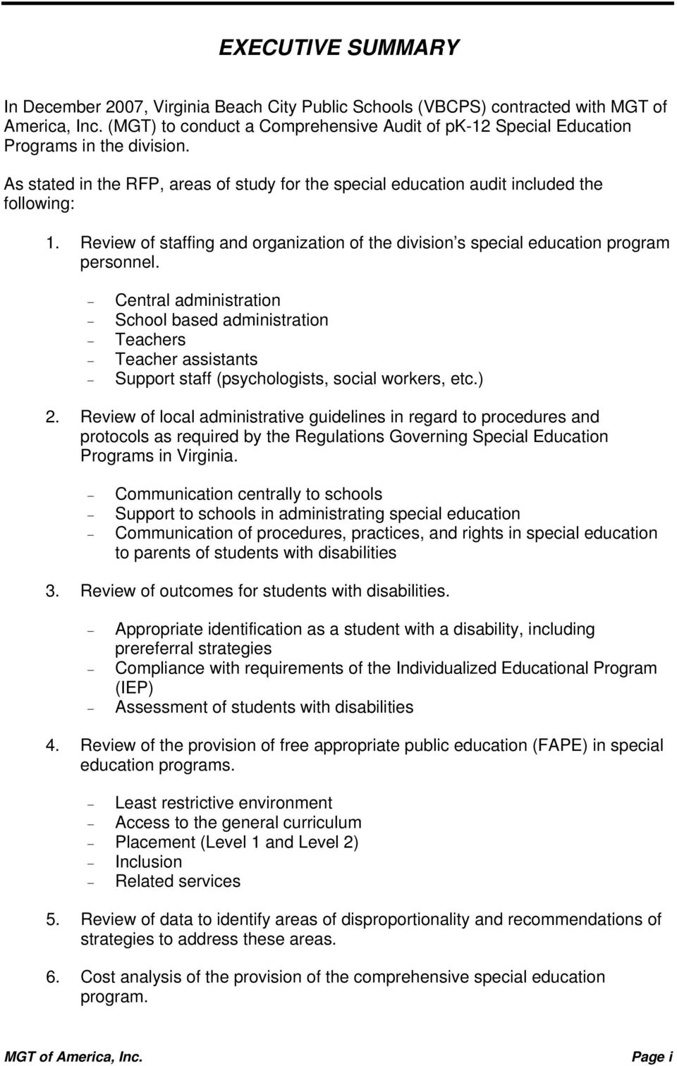 A Comprehensive Audit of PK-12 Special Education Programs