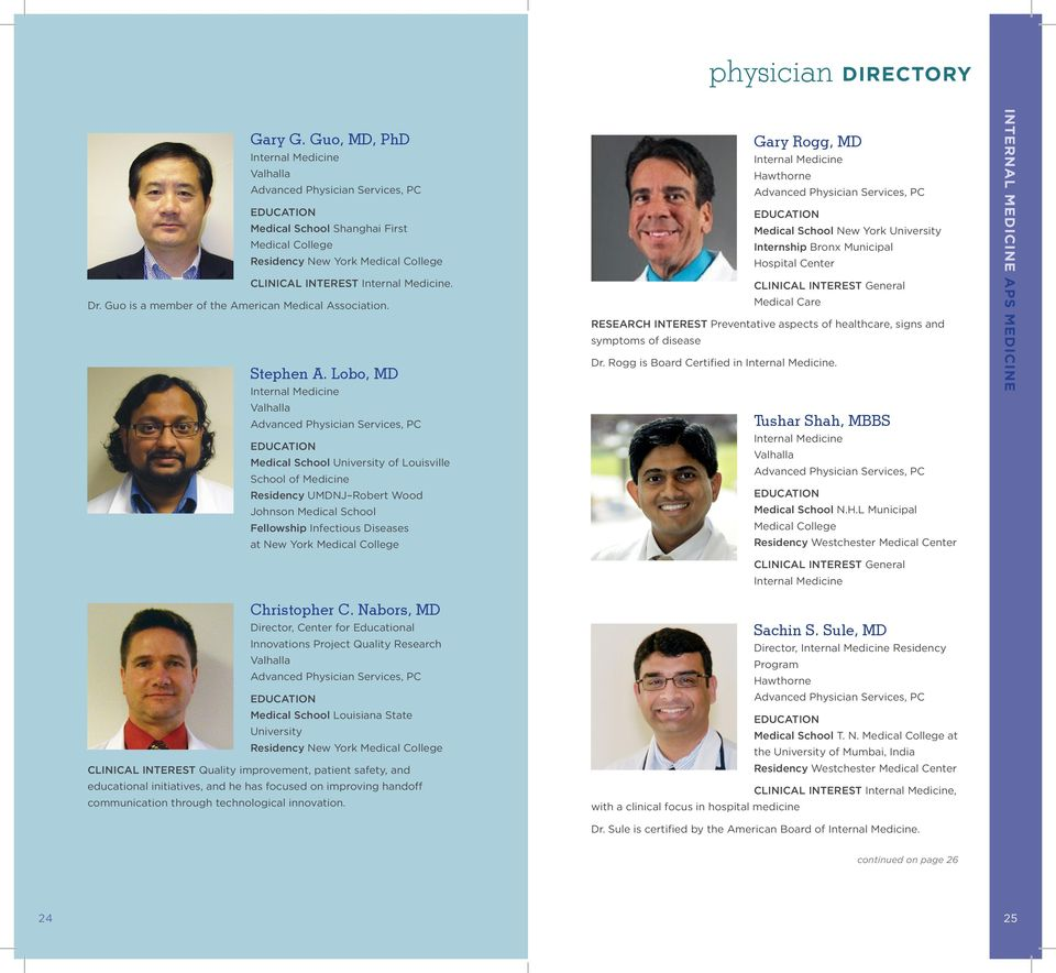 Advanced Physician Services PHYSICIAN DIRECTORY - PDF